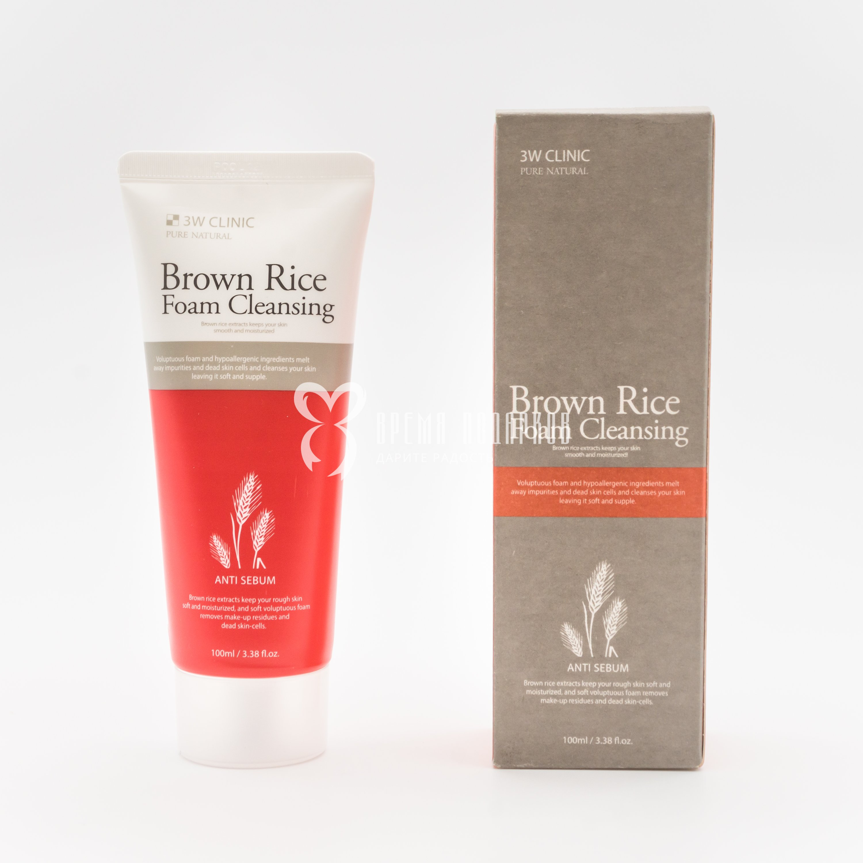 Купить Пенка для умывания с экстрактом коричневого риса 3W CLINIC BROWN RICE FOAM CLEANSING 100мл