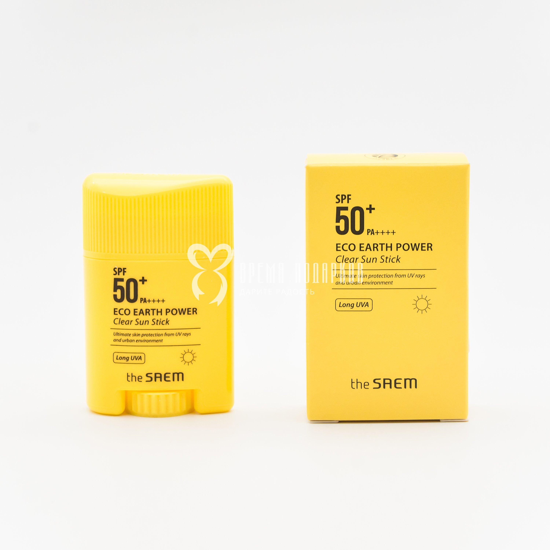 Солнцезащитный стик для чувствительных участков кожи лица THE SAEM Eco Earth Power Clear Sun Stick SPF50+ PA+++ 13g фото