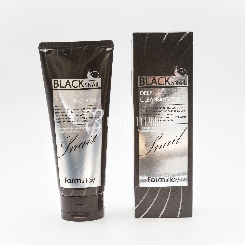 Пенка для умывания с муцином черной улитки FARMSTAY BLACK SNAIL DEEP CLEANSING FOAM 180ml фото