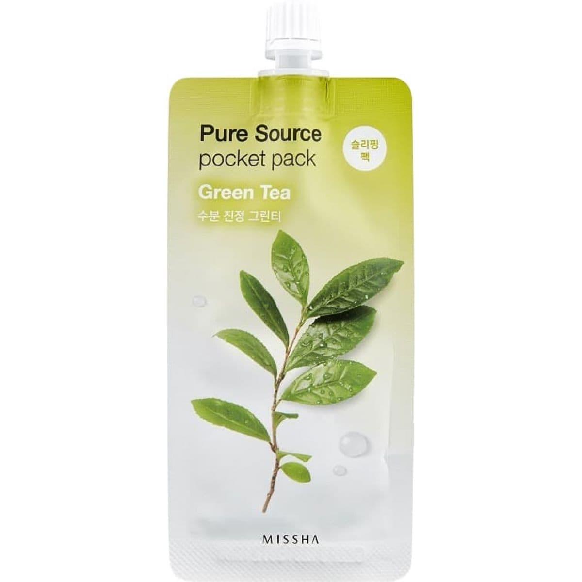 Ночная несмываемая маска с зеленым чаем MISSHA GREEN TEA PURE SOURCE POCKET PACK 10ml фото