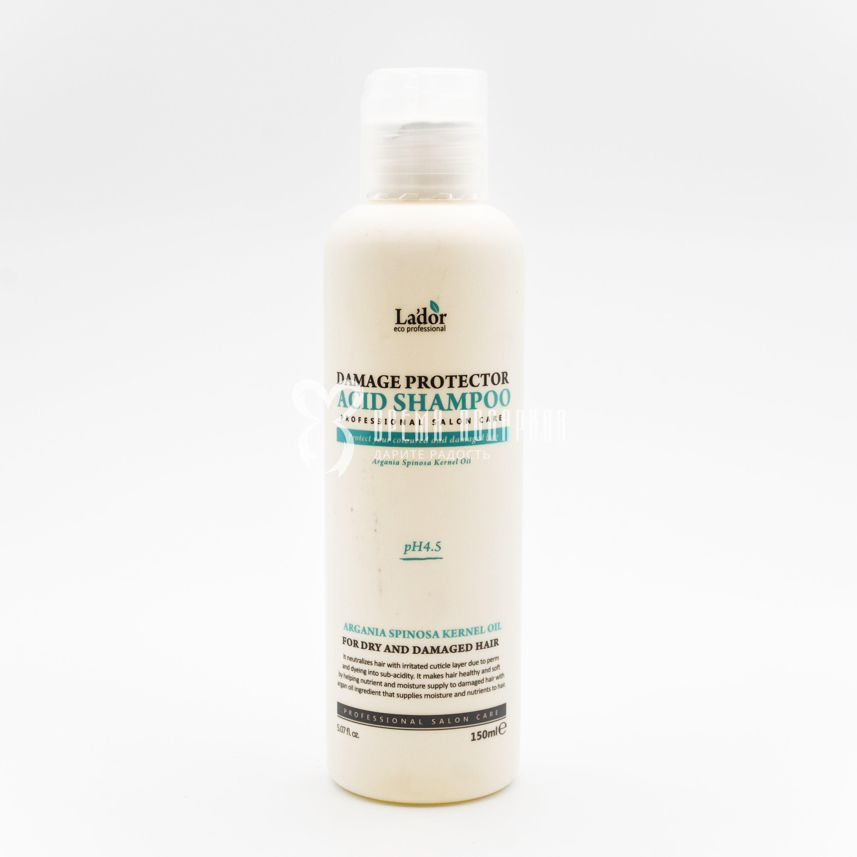 Профессиональный шампунь бесщелочной с коллагеном и аргановым маслом для сухих и поврежденных волос LA'DOR DAMAGE PROTECTOR ACID SHAMPOO 150ml фото