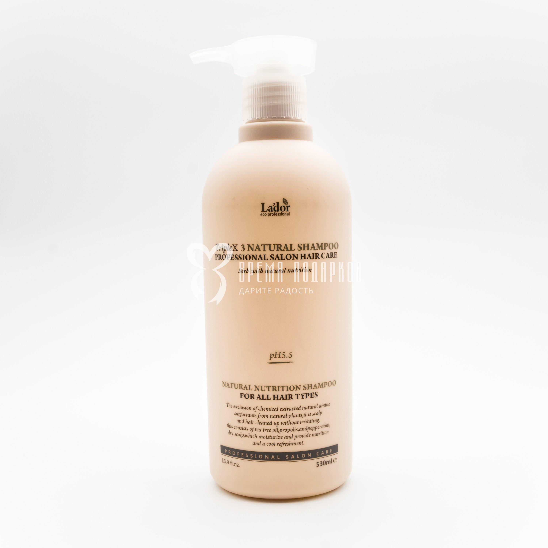 Органический безсульфатный шампунь с экстрактами и эфирными маслами для чувствительной кожи головы LA'DOR TRIPLEX NATURAL SHAMPOO 530ml фото